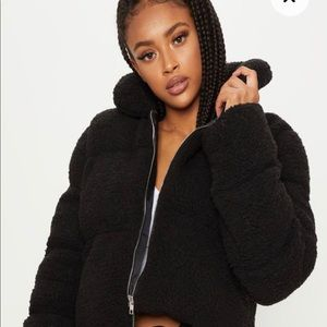 Pretty Little Thing Black Puffer Cropped Jacket